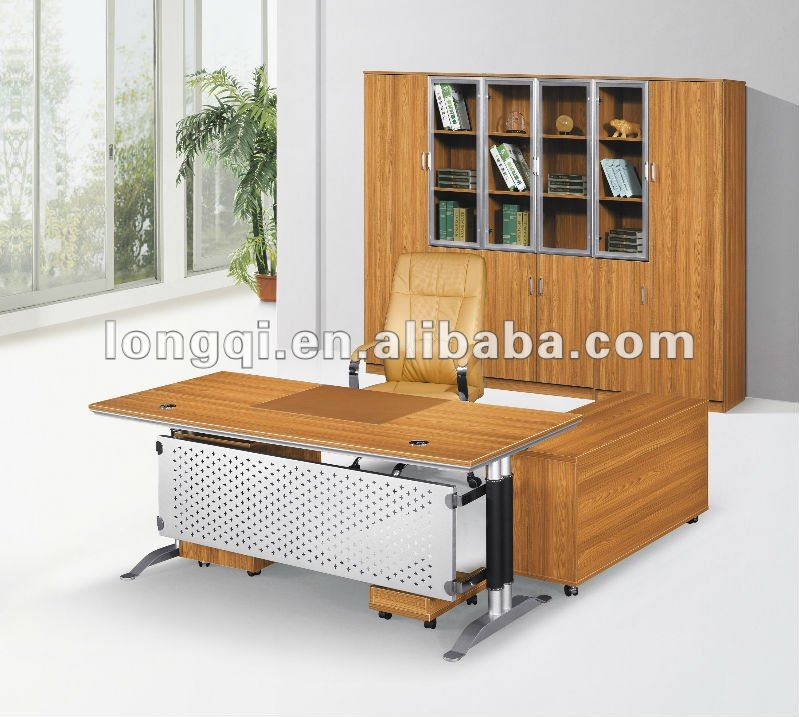 L shaped modern high quality wooden table top aluminum feet executive office desk