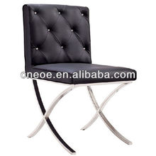 Crystal button tufted modern dining chair