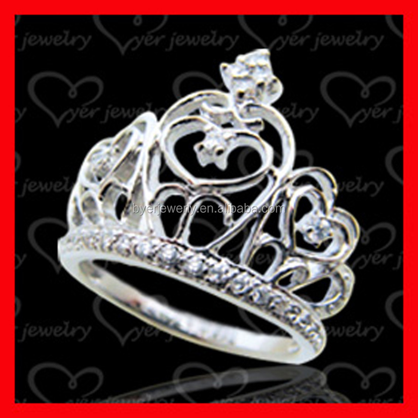 925 Sterling Silver Cubic Zirconia Princess Crown Women Ring