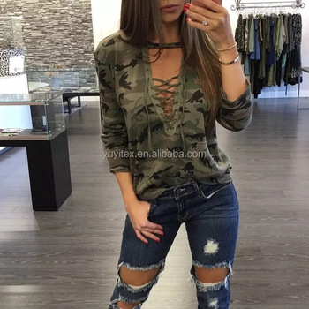 American Apparel Sex Girls Printed T shirt Front Cross Straps Bandage Long Sleeve with Camoflage Print