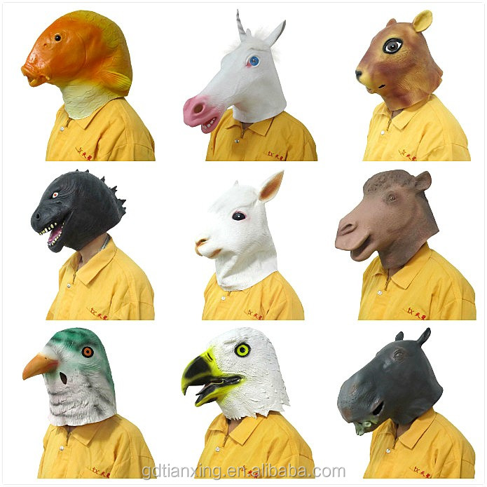 Various costumes chinese zodiac style full head halloween latex animal mask