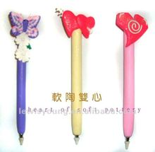 Polymer Clay Ball Pen in Heart Shape