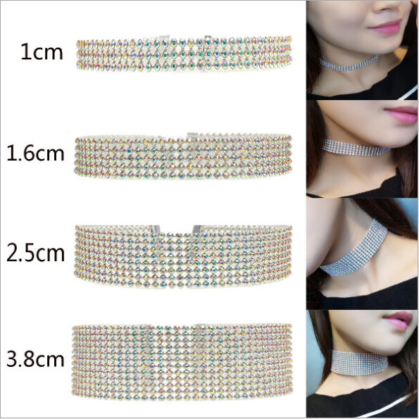 Hipster Punk Fashion Simple row rhinestone crystal AB Choker Necklace
