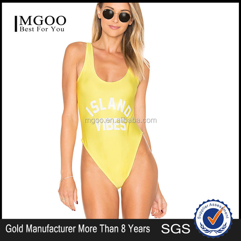 Sexy One Piece Yellow Swimwear White Logo Print Custom Polyamide Fibre Women Swimsuits Private Party Bathing Suit