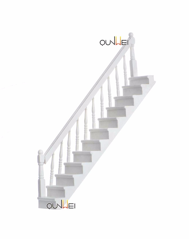 112 DIY Dollhouse Miniature Wooden Stairs with Right Handrail