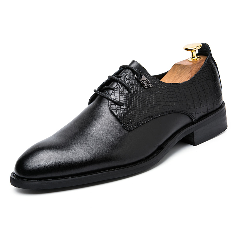 2017 fashion genuine leather black formal mens oxford dress shoes