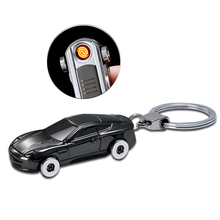 Creative car keychain pendant charging cigarette lighter Metallic USB keychain support custom logo