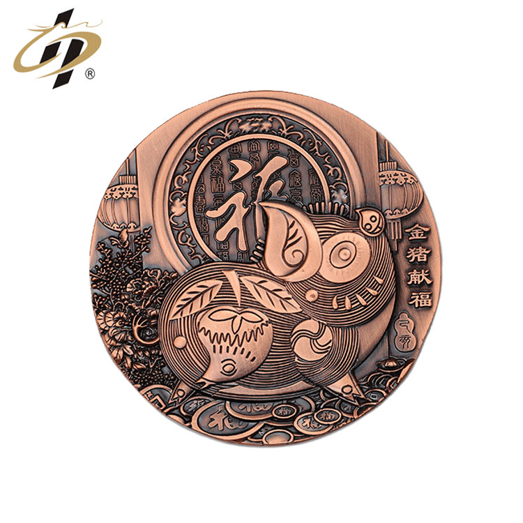 Shuanghua customize antique copper 3D metal zodiac souvenir medallion coin