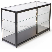 Free standing Hexagonal tower glass display case with open door or sliding door