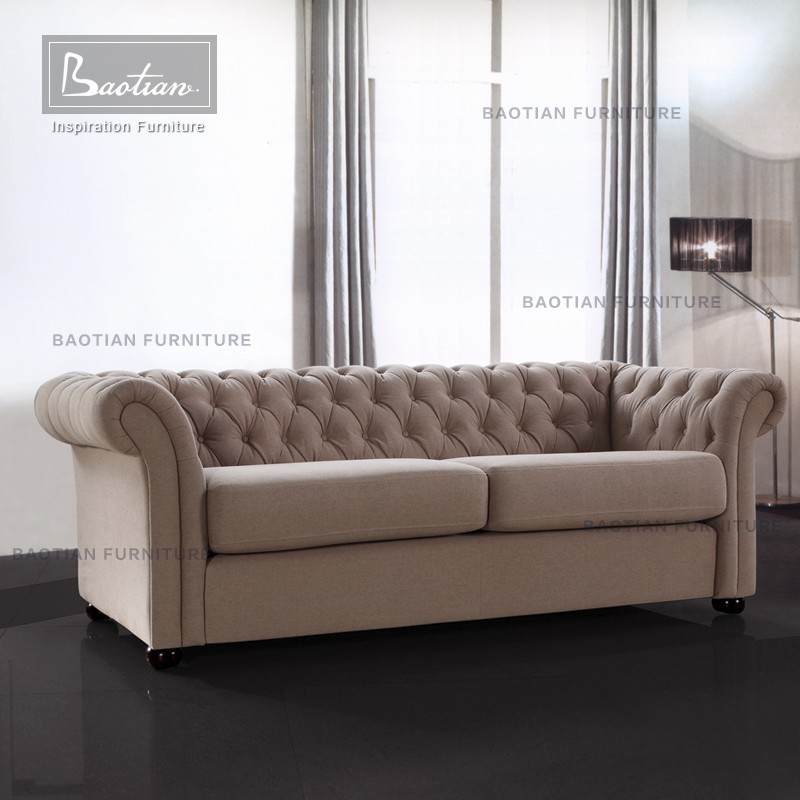 Baotian Chesterfield Sofa Set Designs Modern Fabric Sofa Cum Bed