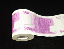 Novelty $100 USD Dollar Bill ,500EURO Funny Money Currency Toilet Tissue Paper Roll