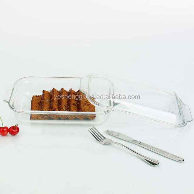 Small rect. pyrex glass casserole with handle/SGS testing microwave safe