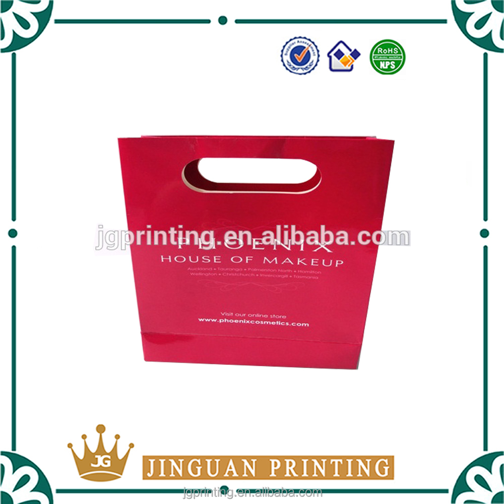 Wholesale elegant makeup packaging custom printing fashion cosmetic paper bag