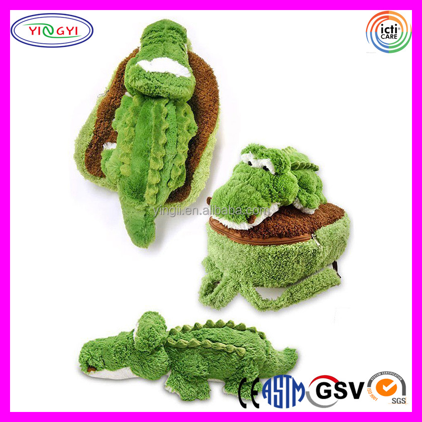 B426 Custom Green Small Girl School Backpack Plush Alligator Book Bag School Backpack for Girl