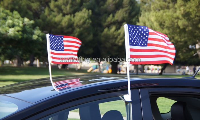 Durable double sided knitted polyester parade american car auto window flag