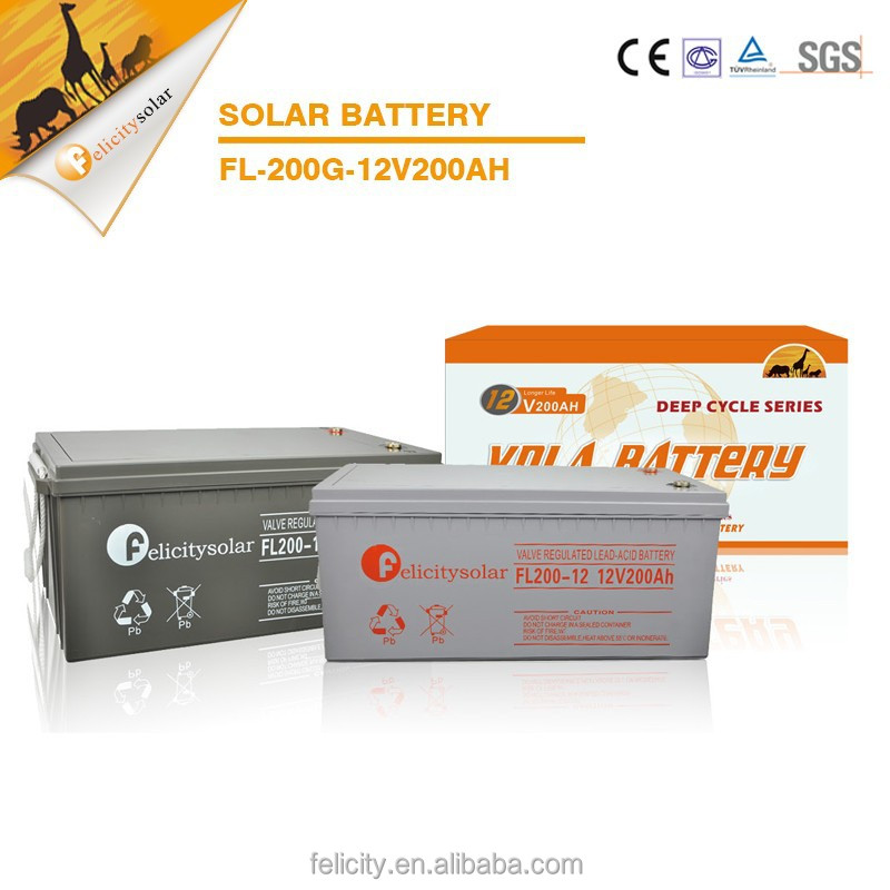 Rechargeable large capacity long lifespan GEL pv solar energy storage battery 12V 200AH