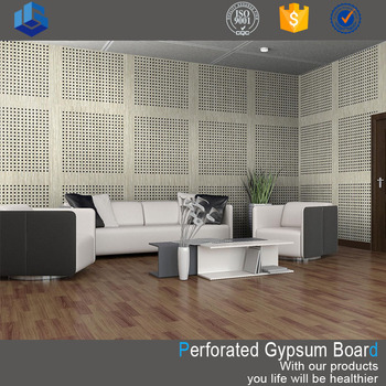 Sound absorbing fireproof perforated gypsum tile board for wall decor