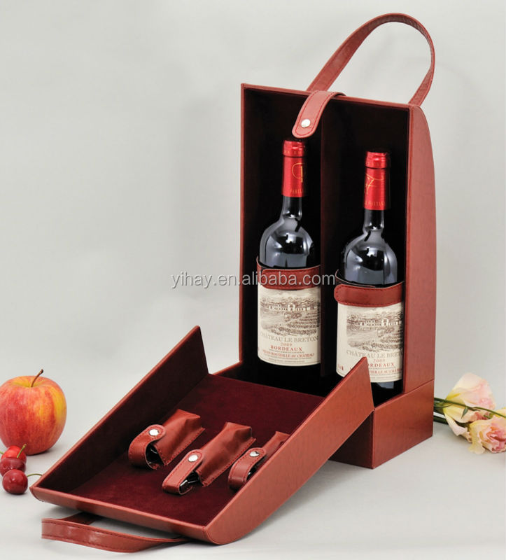 750 ml cardboard covering pu leather wine bottle packaging bag in box