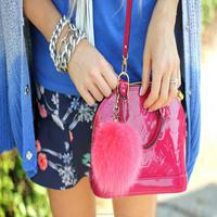 2014 fashion beautiful fur ball key chain by fox material