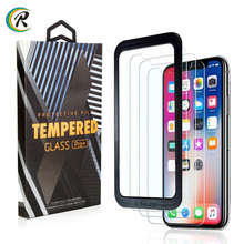 With applicator tray 3 Pack Mobile Tempered Glass For iPhone XS Max XR Tough Protection Screen Protector for iPhone X