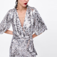 The Fashion Wrap V-neck Half Sleeves Silver Sequin Top Blouse Women