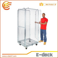 2/3/4 sides Foldable European standard rolling trolley cage wire mesh container for logistics