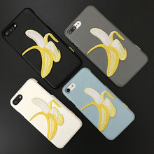 Fashion Hot Sale Cross Stitch Banana Embroidery Leather Cell Phone Case for iPhone 8 8plus 7 7plus 6 6plus