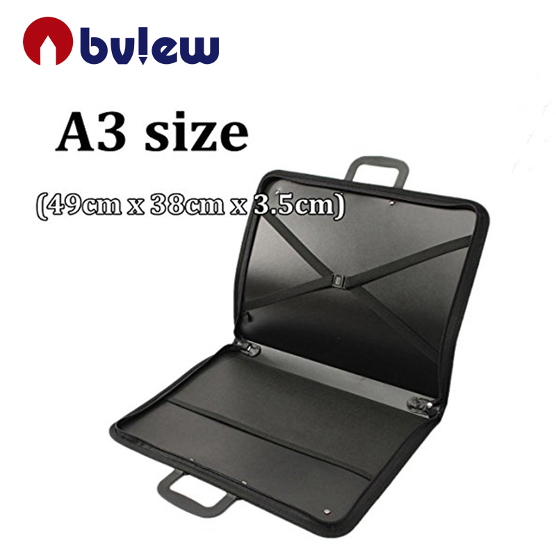 A2/A3 file bags portfolio drawing painting storage folder document carry cases portfolio polypropylene with interior pocket elas