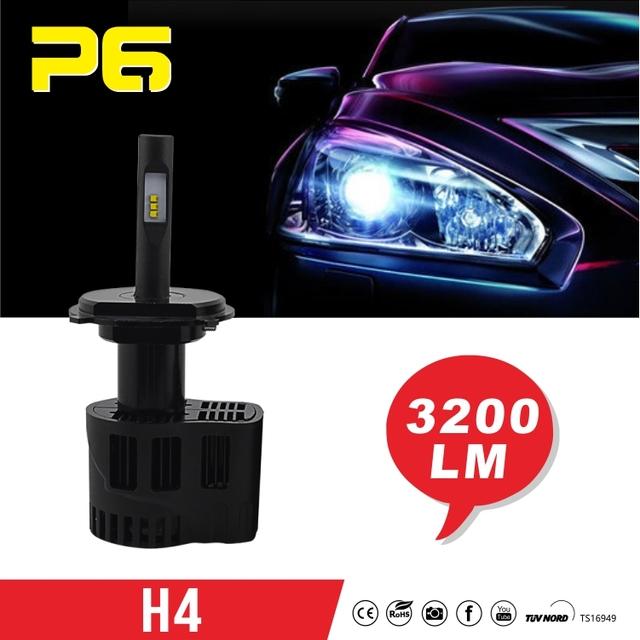 P6 25w/50w 6400lm auto car led headlight bulbs h4 9007, 2x 12 LEDs car head light