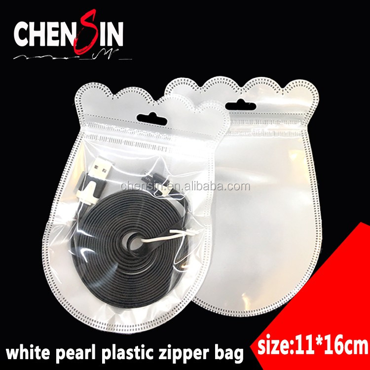 8*12cm (3.1*4.7 inch)custom shape zipper pouch shape of the uase poly bag transparent pp with withe pearl plastic zip-lock bags