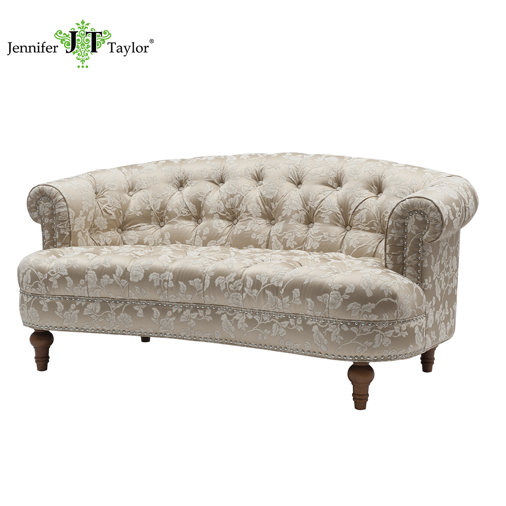 Japan hot selling oriental style small living room sofa, high quality tufted nail decorated two seats loveseat sofa