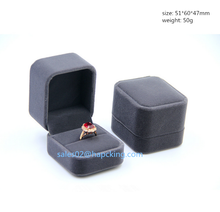 Hot sale Antique Style Grey / blak Velvet Double Ring Box