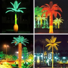 HIGH SIMULATION ARTIFICIAL EVERGREEN WHITE LED LIGHTED COCO BARBEL PALM TREE ON THE PLAZA/SQUARE FOR DECORATION AND CELEBRATION