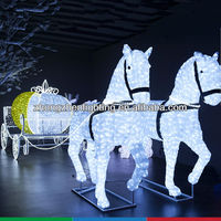 LED crystal sculpture motif light for horse and pumpkin coach,decorative motif light