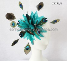 Kentucky Derby Races fascinator,Royal Ascot fascinator,teal peacock feather fascinator on headband