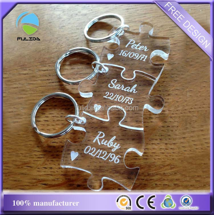 Custom Transparent Laser Engraved Acrylic Thicker Puzzle Piece Present Keychain