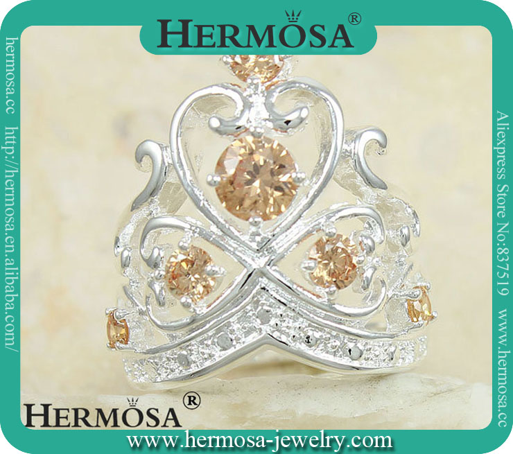 Hermosa Jewelry NEW ARRIVAl Lastest Design 925 Sterling Silver Queen Crown Wedding Diamonds Honey Topaz Rings Jewelry Y82