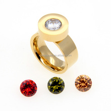 Wholesale stainless steel main material colorful interchangeable stone gold ring design for women