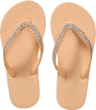 One color Sole with rhinestone decorated PVC strap PE Slipper Flip flops