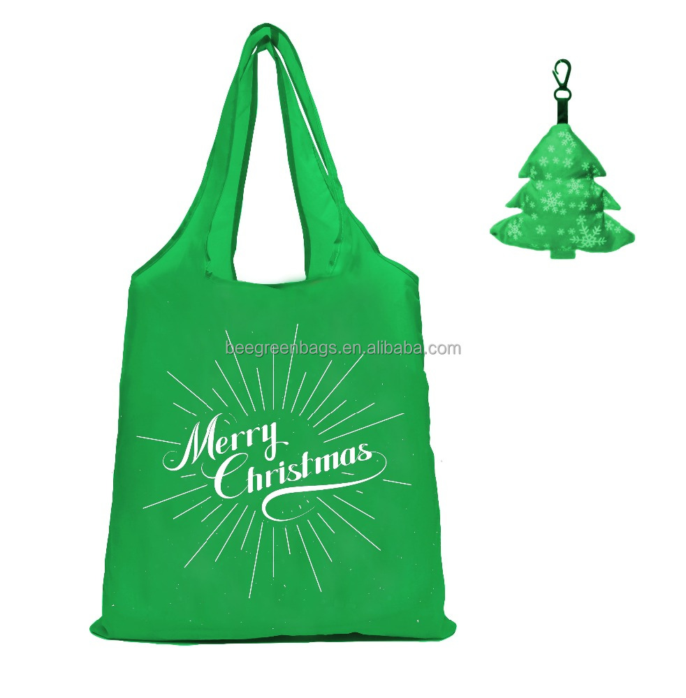 Merry Christmas! Logos free 190T folding shopper tote gift polyester bag with cute Xmas tree pouch