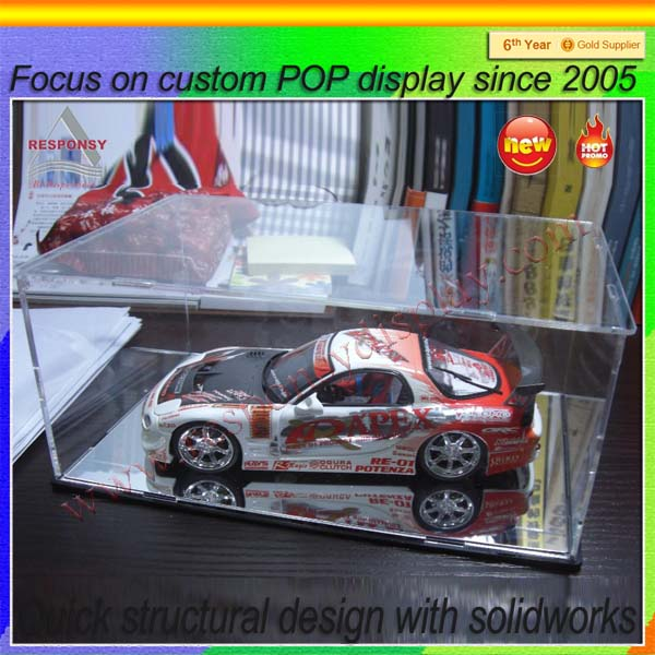 kids toy plastic acrylic display cases for model cars