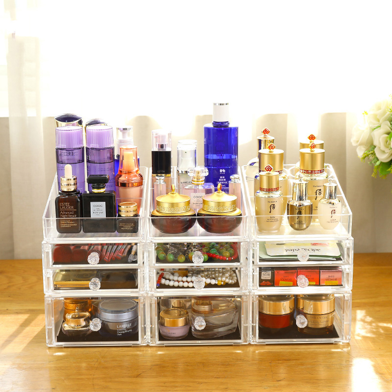 Manufacturer  clear large acrylic makeup organizer with drawers