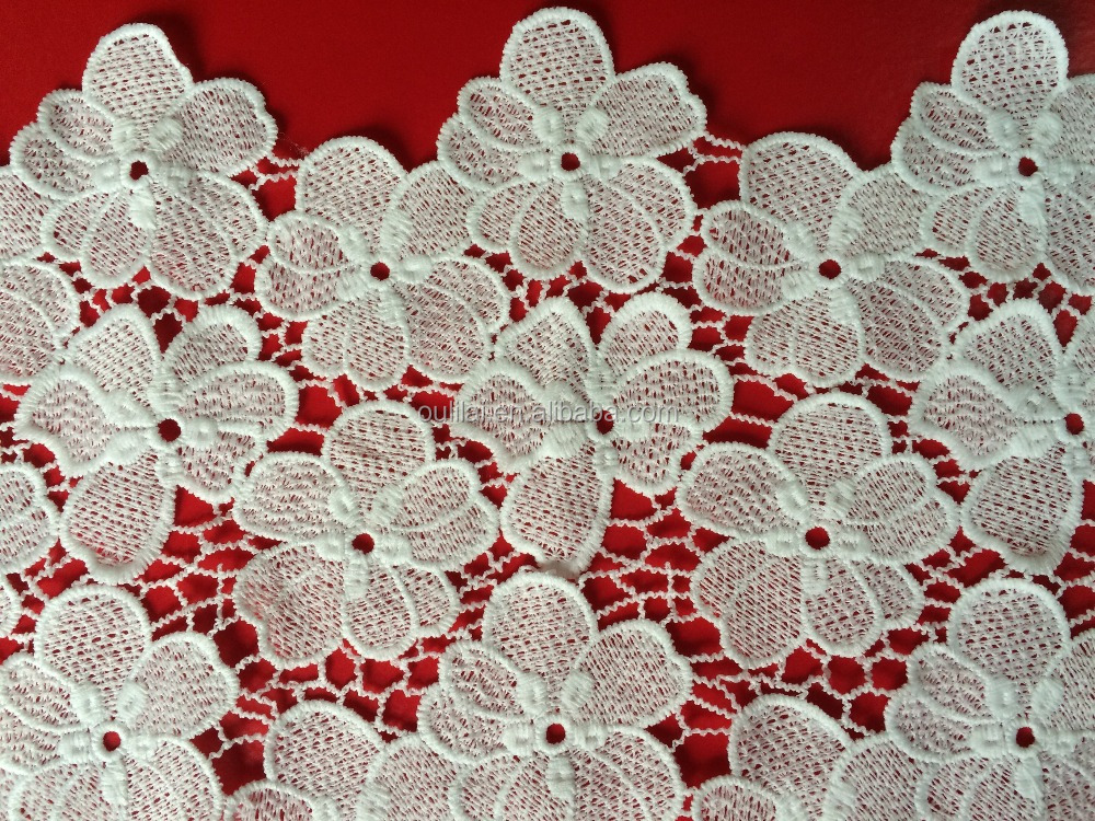 2016 new desgn FLOWER embroidery lace fabric with hole milk poly