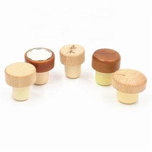 Customized wooden top cap T shape wine / spirits synthetic cork bottle stopper