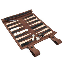 Genuine leather Roll-Up backgammon for travel Leather backgammon roller - Classic Board Game roll case for travel