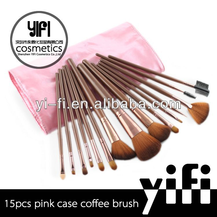 Wholesale Pink Leather Case 15pcs Make Up Brush Set high quality double-ended bronzer brush