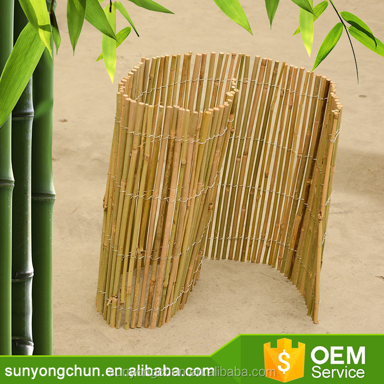 Factory green color natural dyed bamboo reed cane natural fencing roll