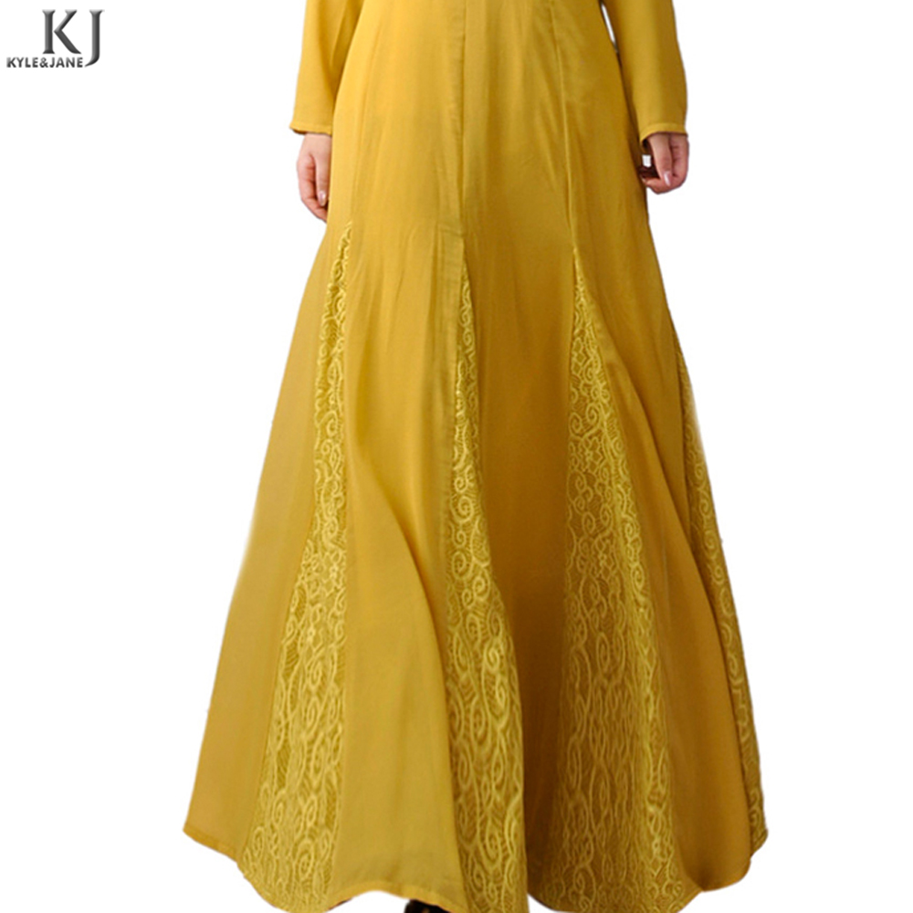 Latest designs Kyle and Jane cotton yellow big hem simple islamic clothing abaya Jilbab dress for muslim women with low price