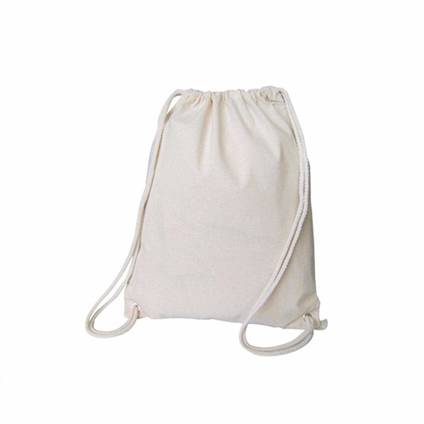 100 cotton string pull closure clava drawstring backpack