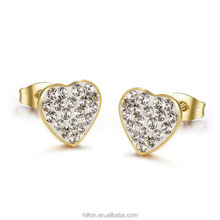 Plated gold Heart shape full rhineston titanium steel stud earrings